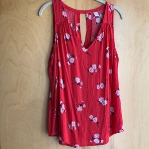 Old Navy coral sleeveless blouse w/ floral print